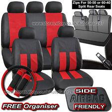 Black Red Leather Look Split Rear, Air Bag, Full Car Steering Seat Covers Alaska