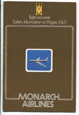 MONARCH AIRLINES BOEING 720B SAFETY CARD BOOKLET