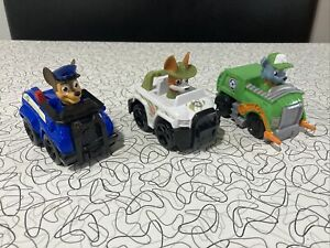 3 Paw Patrol RACER CAR VEHICLES LOT Dog, Tracker, Chase and Rocky Used