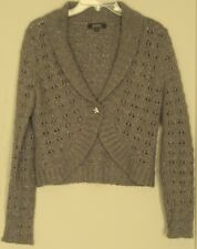 JUST JEANS Knit JACKET  Wool Blend Bolero  Jewel Button crop length ~ Women sz S