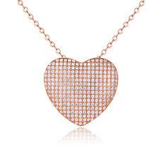 Chapado en Oro Rosa Cubic Zirconia Corazón Colgante Collar