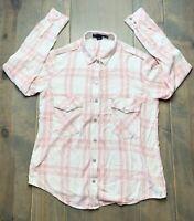 Sanctuary Women's Long Sleeve Plaid Pink/Cream Button Front Collared Shirt Sz: M