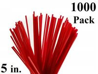 1000 Pack 5 in. Red Plastic Coffee Stirrers Straws Cocktail Sip Stir Sticks