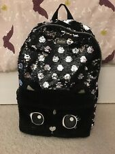 Justice Girls School Full Sized Cat Flip Sequin Backpack Black Polka Dot
