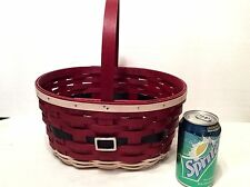 Santa Belly Oval Spring Basket and Divided Protector Longaberger Christmas New
