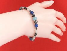 925 Sterling Silver Bead, Blue Chalcedony, Lapis Lazuli & Pearl Bracelet