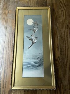 Antique Japanese Watercolor Painting Three Geese Flying Full Moon