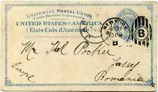 New York, N.Y. UX6 postal card to Romania; circa 1893