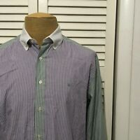 Shipley & Halmos Dress Shirt Purple Green Striped Contrast Collar Size Large