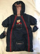 a531b48857bb Blue Jean Teddy 3-6 month Baby Hooded Bunting Car Seat. Winter Mittens  Insulated