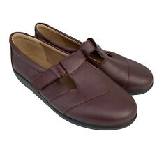 HOTTER Sunset Burgundy Leather T-Bar Comfort Flat Shoes NEW Size UK 5