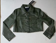 Brand New- Saint Genies Locco Fashion Stitch Crop Vegan Leather Jacket Womens 4