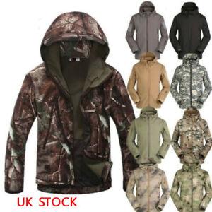 Mens Soft Shell Shark Skin Waterproof Tactical Jacket Hoodie Military Camo Coat