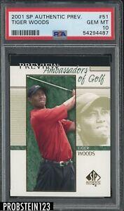 2001 SP Authentic Preview Golf #51 Tiger Woods RC Rookie PSA 10 GEM MINT