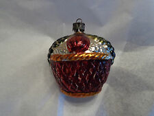 Vintage/Antique Mercury Glass Christmas Tree Embossed Fruit Basket Ornament