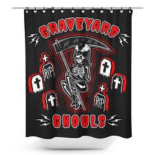 Sourpuss Graveyard Ghouls Shower Curtain Halloween Cemetary RIP Punk Goth Decor