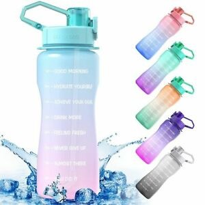 Camping Drink Jug Bike Water Bottle BPA Free Cup with Straw & Time Marker