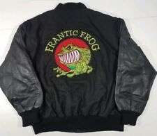 FRANTIC FROG Black Burk's Bay Soft Leather Sleeves Bomber Jacket Size XL EUC
