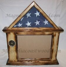Flag & Document Certificate Display Case Box Burnt Pine for 3x5 military Flag