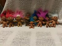 Vintage RUSS Troll Doll Lot Of 9 TREASURE TROLLS MIXED LOT