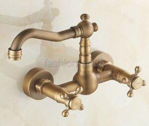 Wall Mounted Antique Brass Bathroom Swivel Faucet Tap Two Cross Handles fsf006