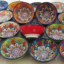 Turkish Ottoman Ceramic Bowls 12cm dia - Handmade & Hand Painted
