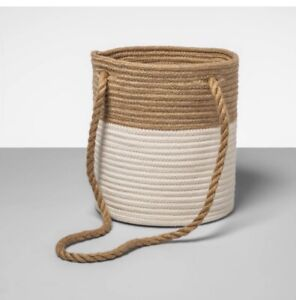 """Opalhouse White & Tan Coiled Storage Rope Basket 10"""" H x 9 In W x 22.8"""" D B140"""