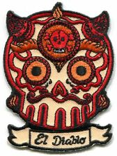 EL DIABLO candy skull EMBROIDERED IRON-ON PATCH -loteria luera y ph524 FREE SHIP