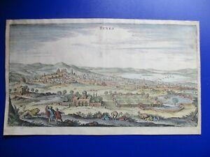 Antique view of Tunis, Tunisia, Africa, Mathaeus Merian, 1638-88