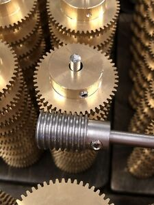 """MATCHING BRONZE WORM GEAR SET 50:1 RATIO 32 PITCH 1/4"""" BORE FROM BOSTON MA. LOOK"""