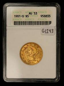 1901-S G$5 Liberty Head Gold Half Eagle - Soapbox ANACS AU 53 - SKU-G1243