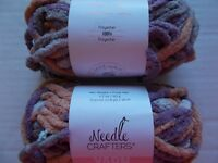 lot of 2 Coral Sirdar Simply Recycled Cotton Rich Aran yarn 102 yds ea