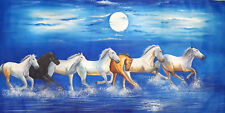 "Seven Horse Running Vastu Original Oil Painting On Canvas Hand Painted 50x26"""
