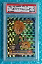 1999 Digimon MATT & TSUNOMON #5 Gold Prism Exclusive Preview # 055/100 PSA-8