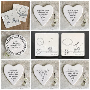 White porcelain coasters East Of India Sentimental quote keepsake gift present