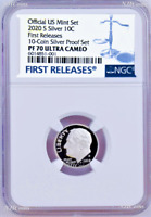2020 S Proof 10C Silver Dime NGC PF70 UCAMEO in 10-coin-set BLUE label FR