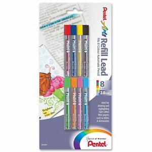CH2BP8M Pentel Arts Multi 8 Color Lead Refill, 2mm, Set of 8 Basic Colors