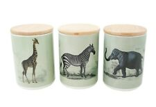 More details for set of 3 safari canisters  home kitchen containers - zebra giraffe elephant