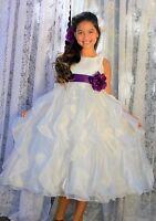 Wedding Pageant Ivory Ruffled Organza Flower Girl Dress Reception Communion 168T