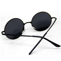 Men Women Black Lens Round Metal Frame Sunglasses Eyewear Glasses Vintage Retro