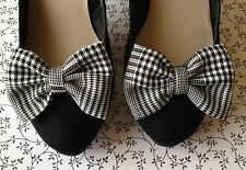 PAIR BLACK WHITE PRINCE WALES CHECK FABRIC SHOE BOW CLIPS HANDMADE BOWS MOD BOWS