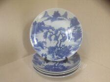Antique Chinese Blue White & Blue Mountain Scene Plates Set of 4 EUC