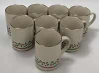 Set of 8 VTG Arby's Christmas Holly Berry Ribbon Gold Trim Coffee Mugs 1987 AA