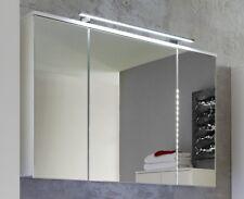 Spiegelschrank Bad weiß Hochglanz 3D Spiegel 3 Türen  Badezimmer Schrank Sky