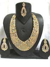 Indian Bollywood Wedding Bridal Kundan jewelry Gold Plated Tikka Necklace Set