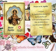 Saint St. Agatha with Prayer  (S2) - Relic Paperstock Holy Card