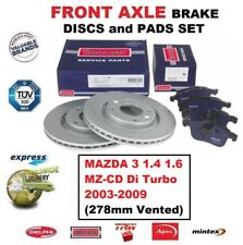 FOR MAZDA 3 1.4 1.6 MZ-CD Di Turbo 2003-2009 FRONT AXLE BRAKE PADS + DISCS 278mm