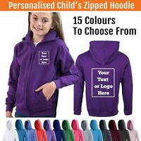 Personalised Childs Zipped Hoodie Custom Printed Kids Hoody Childrens Hooded