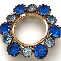 Vintage Rhinestone Blue Brooch Pin Prong Set Gold Tone Circle