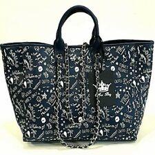 Mia Bag Borsa Shopping a Mano Maxi Graffiti 4 Manici Blu Navy